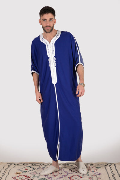 Gandoura Imrane Men's Short Sleeve Robe in Blue - diamantine-uk
