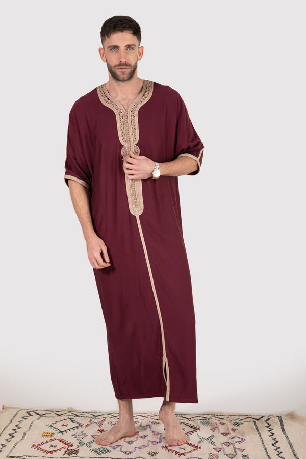 Gandoura Imrane Men's Short Sleeve Robe in Burgundy - diamantine-uk