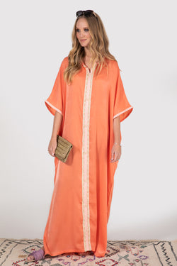 Gandoura Sacree dress in salmon - diamantine-uk