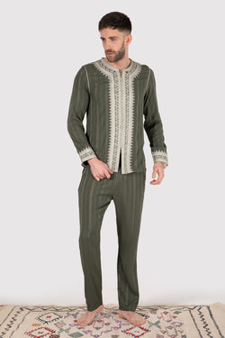 Jabador Nouh Men's Set in Khaki Green - diamantine-uk