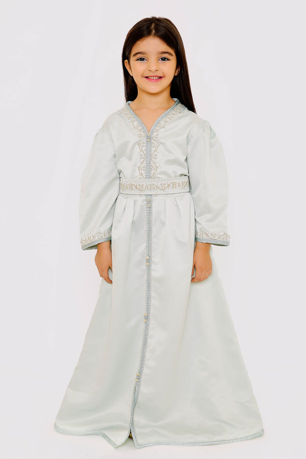 Kaftan Amelle Girl's Long Satin Long Sleeve Maxi Dress in Light Green