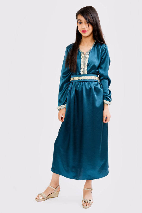 Kaftan Sharazade Girl's Long Sleeve Satin Maxi Dress in Petrol