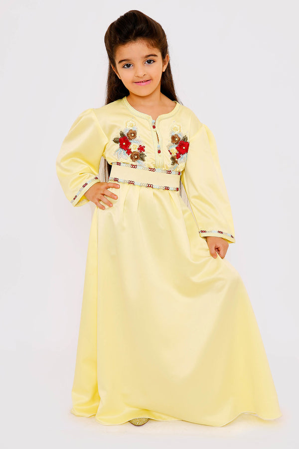 Kaftan Sherine Girl's Puff Sleeve Belted Maxi Dress in Yellow