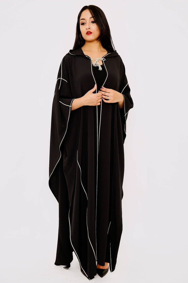 Selham Dina Full-Length Hooded Traditional Cape in Black