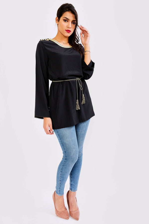 Rasm Embellished Neck Long Sleeve Top in Black
