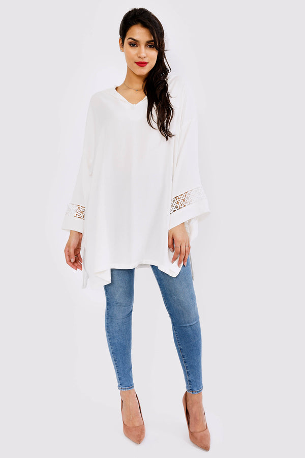 Simon Hooded Lace Sleeve Longline Top in White