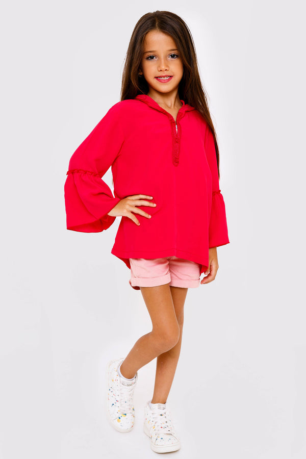 Yalin Girl's Hooded Fluted Sleeve Top in Raspberry