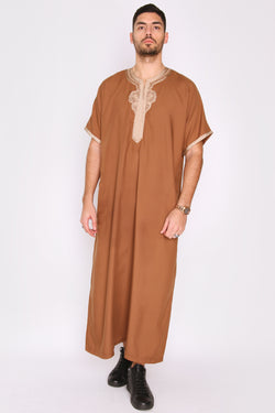 Gandoura Badr Embroidered Short Sleeve Men's Long Robe Thobe in Brown