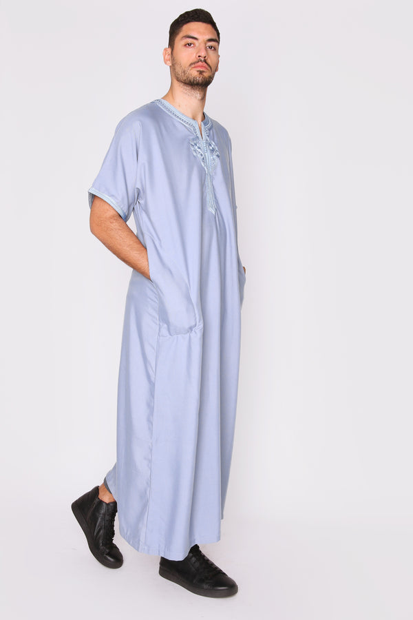 Gandoura Badr Embroidered Short Sleeve Men's Long Robe Thobe in Blue