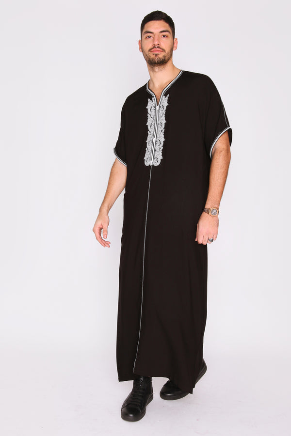 Gandoura Anwar Men's Long Robe Short Sleeve Casual Thobe in Black