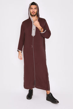 Djellaba Wael Men's Long Sleeve Full-Length Embroidered Hooded Robe Thobe in Brown