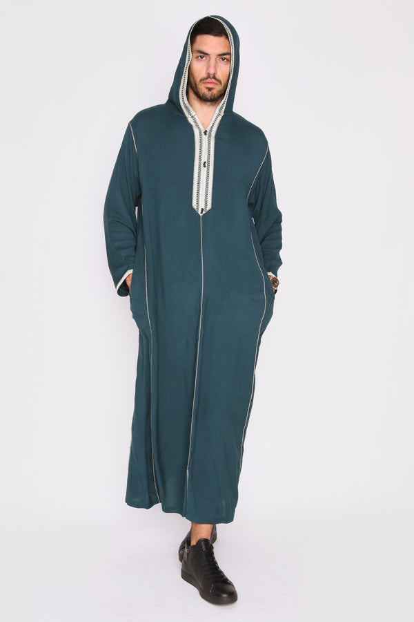 Djellaba Wael Men's Long Sleeve Full-Length Embroidered Hooded Robe Thobe in Green