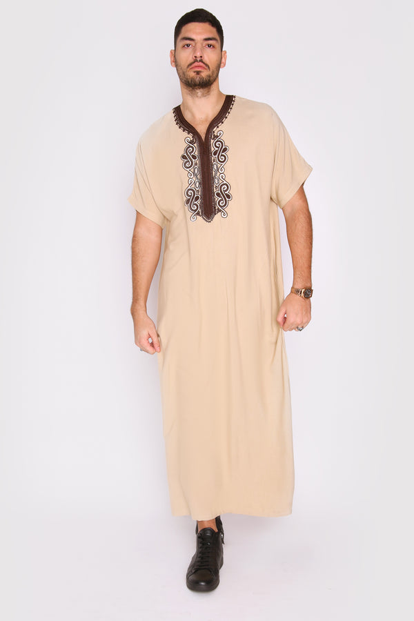 Gandoura Haitham Men's Short Sleeve Full-Length Embroidered Robe Casual Thobe in Beige