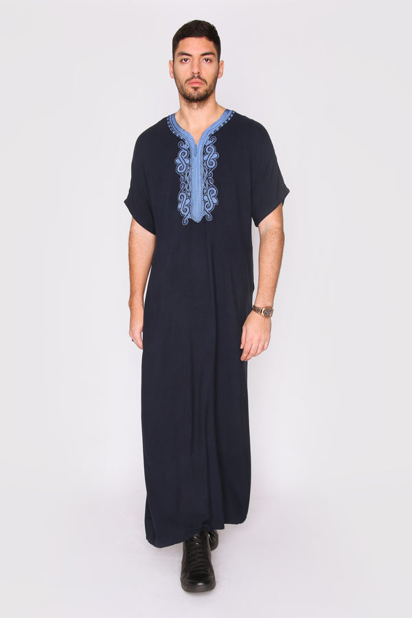 Gandoura Haitham Men's Short Sleeve Full-Length Embroidered Robe Casual Thobe in Black