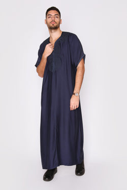 Gandoura Idriss Men's Embroidered Short Sleeve Full-Length Robe Thobe in Rich Deep Blue