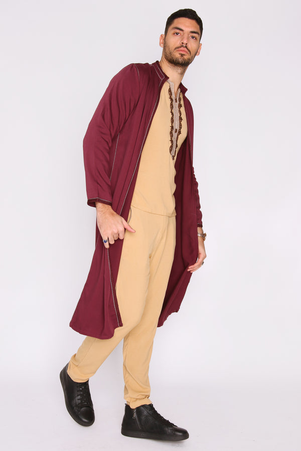 Jabador Assem Men's Tunic Top Longline Jacket and Trousers Embroidered Co-Ord Set in Burgundy
