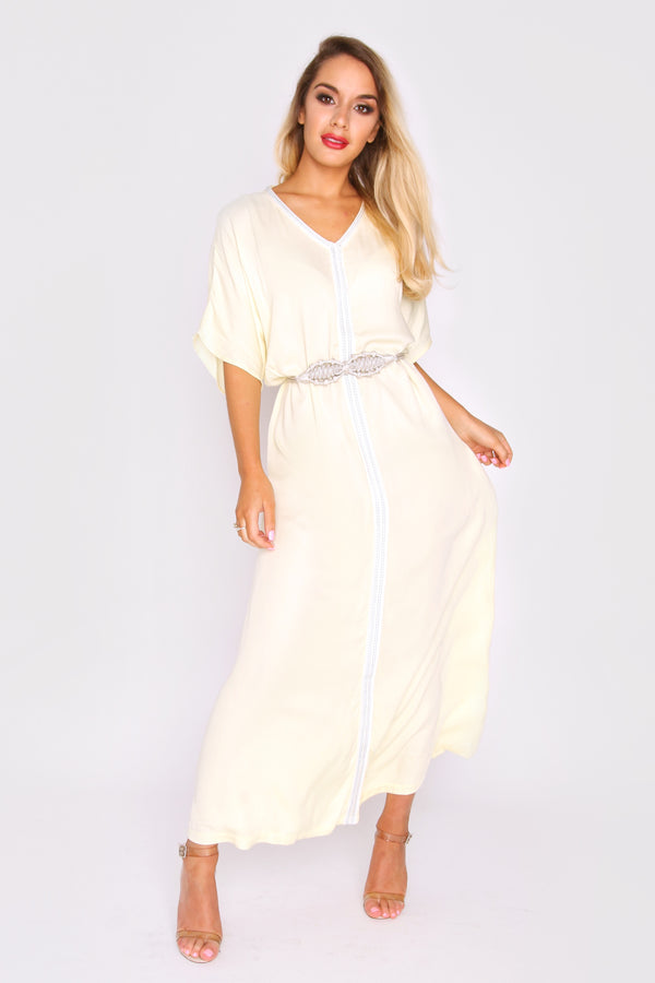 Kaftan Feliz Short Sleeve V-Neck Long Maxi Dress Cover-Up with Belt in Yellow