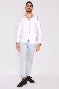 Houssni Embroidered Collarless Men's Button-Up Shirt in White