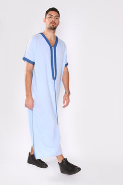 Gandoura Dolphy Men's Robe Short Sleeve Long V-Neck Thobe in Blue