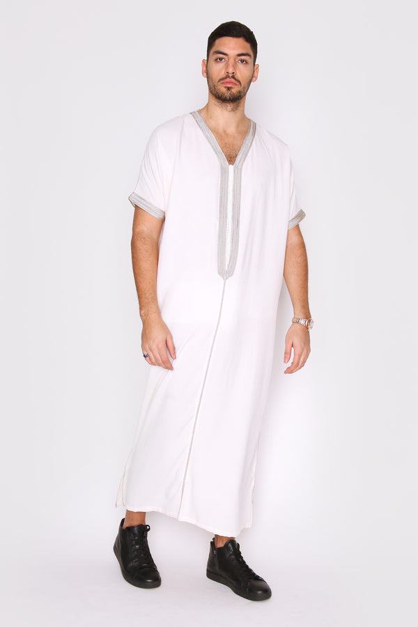 Gandoura Dolphy Men's Short Sleeve V-Neck Robe Thobe in White