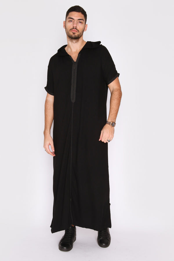 Gandoura Vanity Men's Hooded Robe Casual Short Sleeve Thobe in Black