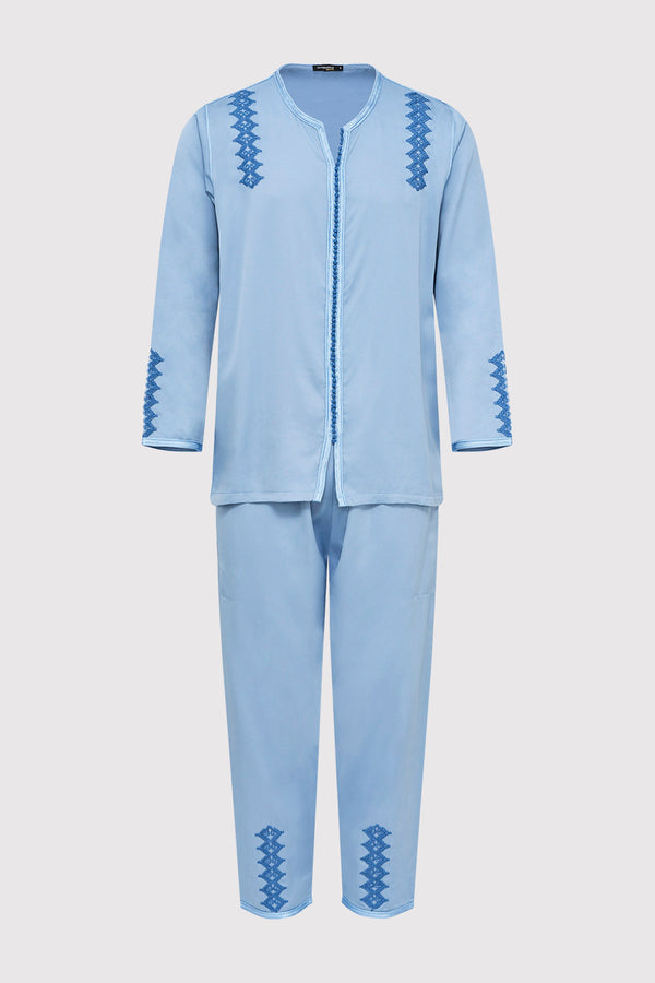 Jabador Kotba Men's Long Sleeve Tunic Embroidered Top and Trouser Co-Ord Set in Blue