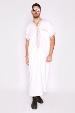 Gandoura Natura Men's Short Sleeve Long Robe Thobe in White