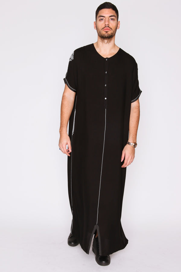 Gandoura Panda Men's Short Sleeve Button-Up Long Robe Thobe in Black