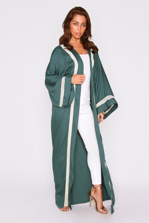 Florina Metallic Contrast Trim Lightweight Long Sleeve Maxi Length Duster Jacket in Green