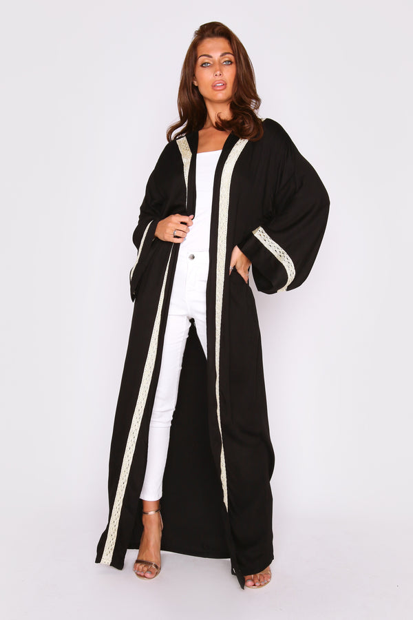 Florina Metallic Contrast Trim Lightweight Long Sleeve Maxi Length Duster Jacket in Black