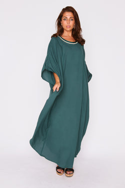 Kaftan Nasma Embroidered Round Neck Long Batwing Sleeve Dress in Green