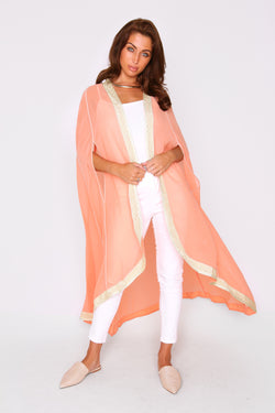 Amalthe Contrast Trim Lightweight Chiffon Sheer Cape Duster Jacket in Salmon