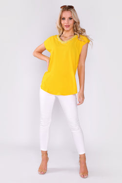 Daphine Contrast Trim Embroidered Casual Short Sleeve Top in Yellow