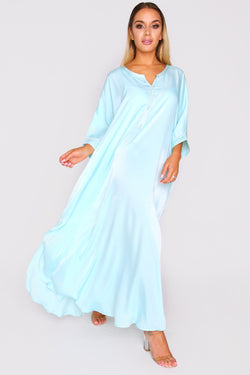 Kaftan Sabine Short Sleeve Lightweight Maxi Dress in Nile