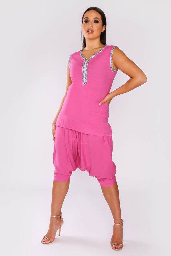 Jabador Marisa Short Sleeve Maxi Length 3-Piece Co-Ord Set In Fuschia and Blue