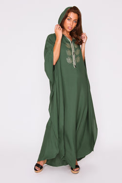 Kaftan Ludmila Cropped Sleeve Hooded Crystal Maxi Dress in Emerald Green