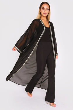 Amazon Women's Chiffon Sheer Long Sleeve Kimono Cape in Black