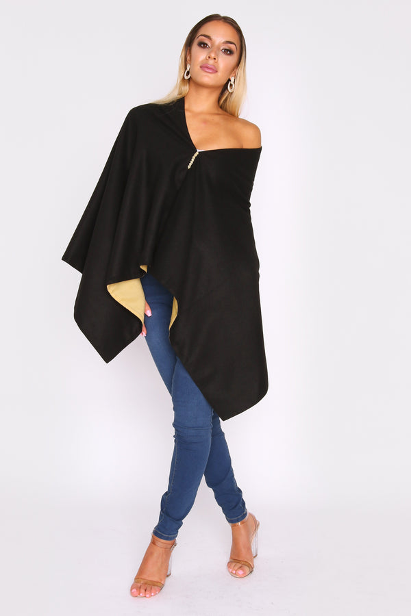 Lilya Collarless Longline Cape Jacket in Contrast Two-Tone Black and Lime Green