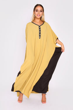 Kaftan Simone Caped Cropped Sleeve Long Layered Maxi Dress in Lime Green