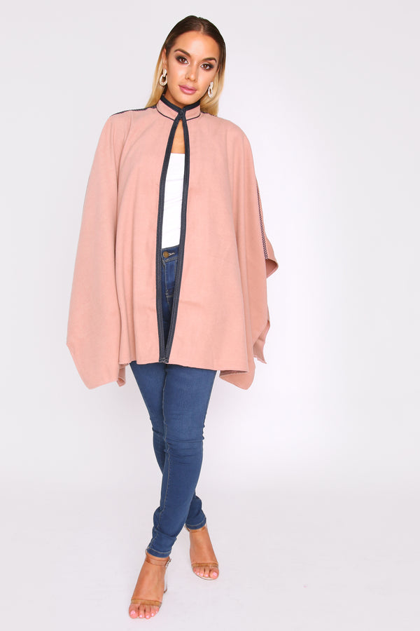Noha Longline Cape Jacket with Contrast Trim in Nude