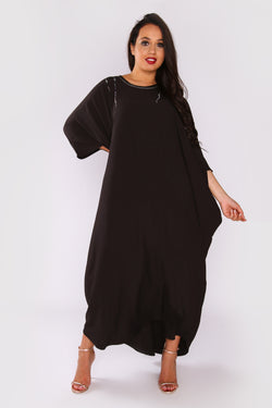 Kaftan Raphaella Oversized Long Sleeve Full-Length Round Neck Maxi Dress in Black