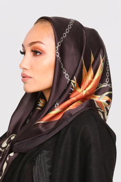 Satin Scarf in Black Print