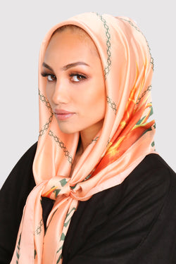 Satin Scarf in Coral & Green Print