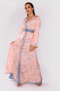 Lebssa Daniella Two-Piece Layered Long Sleeve Long Maxi Dress and Belt in Print