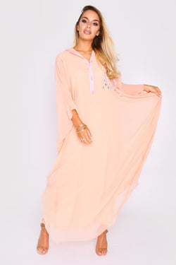 Djellaba Natalie Embroidered Long Sleeve Lightweight Hooded Maxi Dress in Salmon