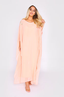 Kaftan Kym Oversized High Neck Lightweight Maxi Dress in Salmon