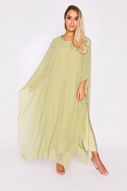 Kaftan Kym Oversized High Neck Lightweight Maxi Dress in Green
