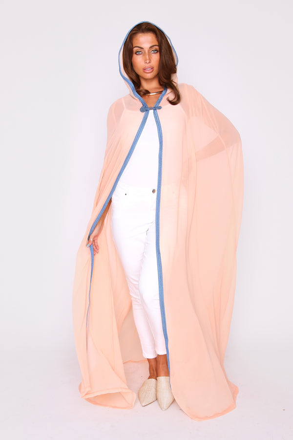 Selham Cherine Full-Length Lightweight Chiffon Hooded Cape Duster jacket in Salmon