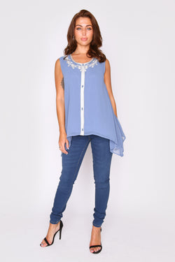 Selena Sleeveless Embroidered V-Neck Longline Assymetric Hem Lightweight Top in Blue