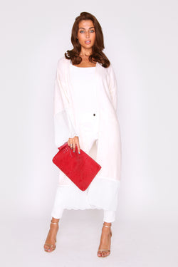 Kimono Emna Cover-Up Long Sleeve Duster Jacket in White